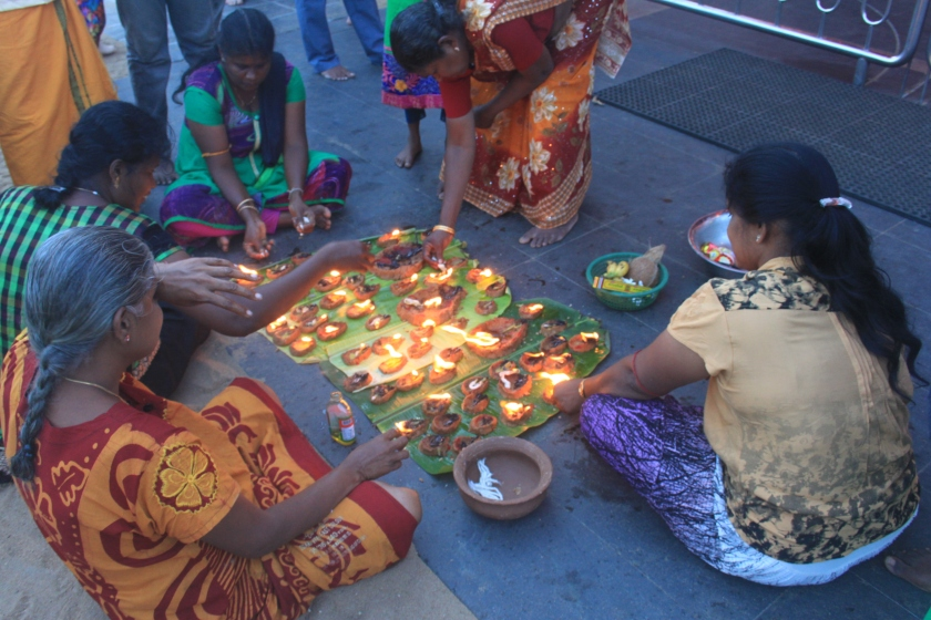 Offerings at temple, Kataragama